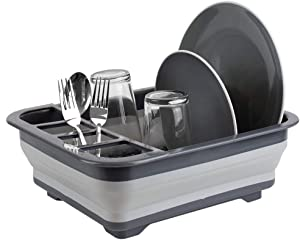Home Basics Silicone and Plastic Easy Storage Collapsible Dish Rack with Cutlery Holder (Grey)