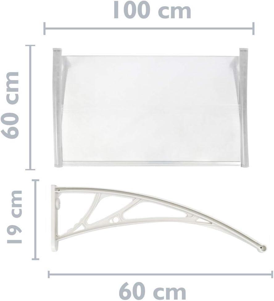Vordach 100x60 cm transparent T/ürdach /Überdachung mit weisser St/ütze PrimeMatik