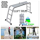YOLO Stores 12.5ft Folding Ladder Aluminum Extension 7 in 1 Multi Purpose Extendable Platform Scaffold Heavy Duty w/ 2 Panels