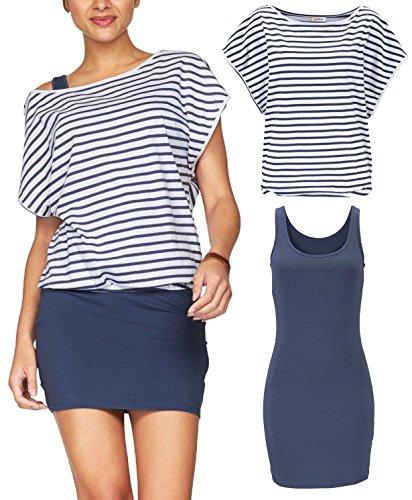 Jusfitsu Women's 2 Piece Outfits Casual Summer Striped T Shirt Tops Bodycon Mini Tank Dresses Navy Stripes M ()