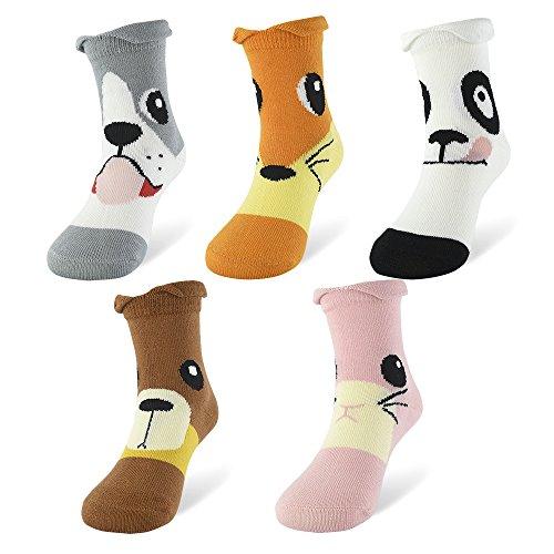 SLAIXIU Cute Animal Design Boys Girls Cotton Socks for Kids 5-Pack (C389-S)