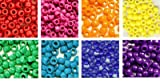 Rainbow Opaque Craft Pony Beads Bulk, 6 x 9mm, 8 Pack Variety Pack, 8 Colors (About 4000 Beads Total)