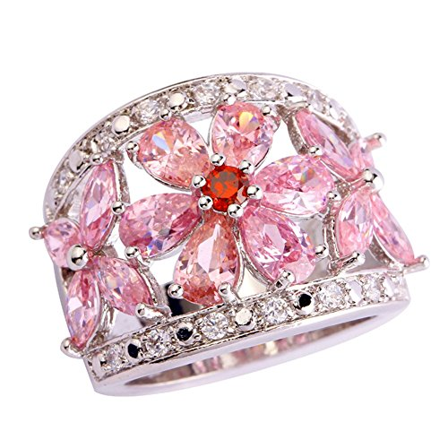Psiroy 925 Sterling Silver Charming Pear Cut Pink Topaz Flower Shaped Cluster Filled Ring for Women (Cluster 925 Sterling Silver Ring)