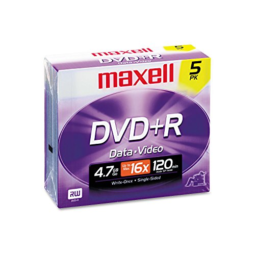 UPC 806792055514, Maxell 639002 DVD+R Discs, 4.7GB, 16x, w/Jewel Cases, Silver, 5/Pack