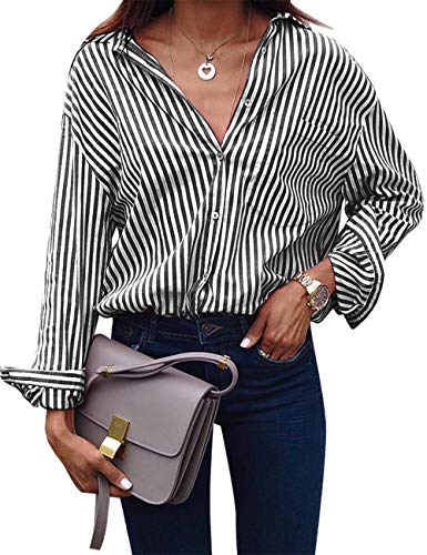 e11730daee ACKKIA Women s Casual V Neck Vertical Black Striped T Shirt Long Sleeve  Button Down Lightweight Tops