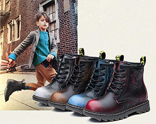 DADAWEN Boys & Girls Waterproof Outdoor Side Zipper Lace-up Leather Fur Lined Winter Snow Ankle Boots