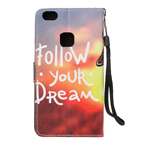 EUWLY Huawei P10 Lite Wallet Case,Huawei P10 Lite Leather Case Cover,Huawei P10 Lite Protective Sleeve with Colored Painted Embossed Pattern,Bling Bling Sparkling PU leather Cover with Rhinestone Diam Campbell letters