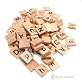 Raylinedo 200X Wooden Scrabble Tiles Letter Alphabet Scrabbles Number Crafts English Words Uppercase and Lowercase Mixed