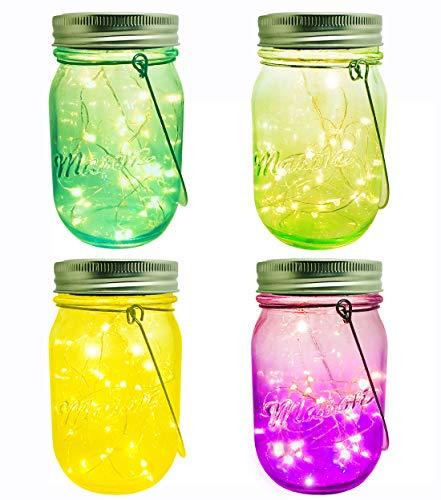 Solar Powered Mason Jar Lights, 4 Pack 20 LEDs Fairy Firefly Colorful Glass Mason Jar Lights Lanterns, Best Patio Yard Wedding Desktop Party Decor Solar Lanterns (4Pack-4colorful Mason Jars) -