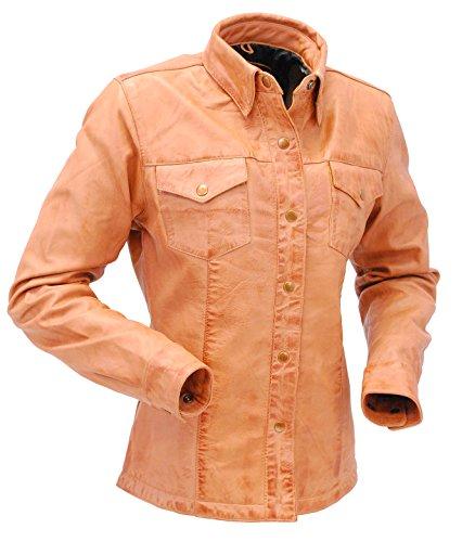 - Women's Vintage Tan Soft Lambskin Leather Shirt (L) #LSA862T