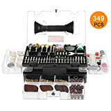 "Rotary Tool Accessories Kit, Meterk 349pcs Grinding Polishing Drilling Kits, 1/8"" Shank Electric Grinder Universal Fitment for Easy Cutting Grinding Sanding Sharpening Carving Polishing (349pcs)"