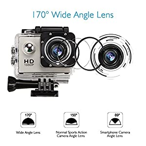 GBB Sport Action Ultra HD 1080P Digital Camera Waterproof Camera 12MP Camcorder DV 170 Degree Wide Angle MIC/Speaker Motion Detection With 2 Rechargeable Batteries & Free Mounting Kits - Silver
