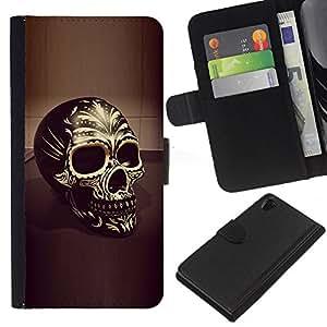 Be-Star la tarjeta de Crédito Slots PU Funda de cuero Monedero caso cubierta de piel Para Sony Xperia Z2 D6502 ( Skull Black Gold Bling Death 3D Biker )