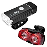 Bike Light , Cido Bike Light Set /w FREE TAIL LIGHT, Free Installation in Seconds Cycling Flashlight , USB Rechargeable LED Water Resistant Front Light ,Fits Mountain & Kids & Street Bicycles (Black)