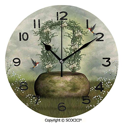 SCOCICI 10 inch Round Clock Fairytale Scene with Flowers Stone and Hummingbird Wildflower Arch Cloudy Sky Unique Wall Clock-for Living Room, Bedroom or Kitchen Use ()