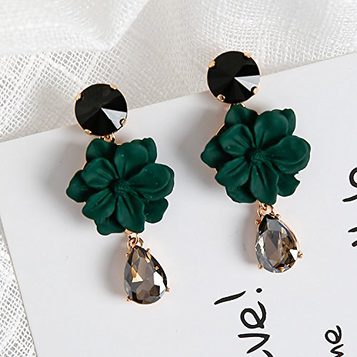 High-Season Statement Fashion Jewelry Charm Flower Earrings Temperament Rhinestone Pendientes For Women Brinco Boucle D'oreille Femme 2017 (Green)