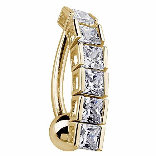 FreshTrends Cascading Elegance 14k Yellow Gold Reverse Dangle Belly Ring