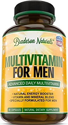 Multivitamin for Men with Vitamins A C D E & Vitamin B Complex + Zinc + Magnesium + Calcium + Selenium + Saw Palmetto and more. Cardiovascular & Prostate Health + Antioxidant & Natural Energizer.