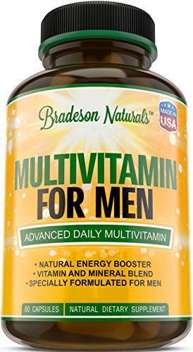 Multivitamin for Men with Minerals & Vitamins A B1 B2 B3 B5 B6 B12 C D E Calcium Zinc Magnesium Biotin Saw Palmetto & more. Improves Cardiovascular & Prostate Health. Antioxidant & Natural Energizer.