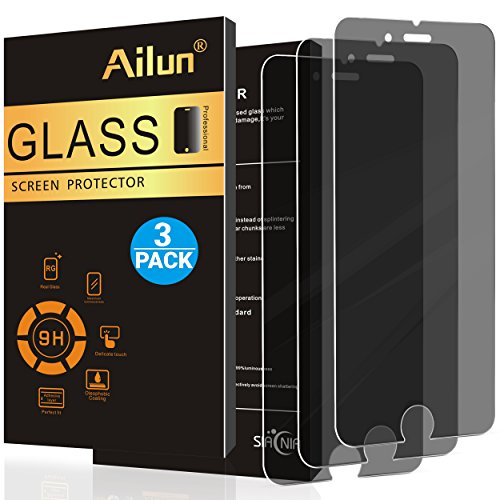 iPhone 8 7 Screen Protector,Privacy,Anti-Spy,Anti-Glare,[3Pack]by Ailun,2.5D Edge Tempered Glass for iPhone 8 7,Anti-Scratch,Case Friendly,Siania Retail Package