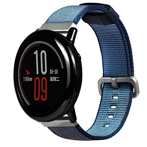 Price comparison product image Cywulin Nylon Sports Band for Xiaomi Huami Amazfit Stratos 2 / 2S Amazfit Bip Bit Pace Smart Watch,  22mm Quick Release Woven Fabric Replacement Wrist Strap Breathable Lightweight for Women Men (Blue)