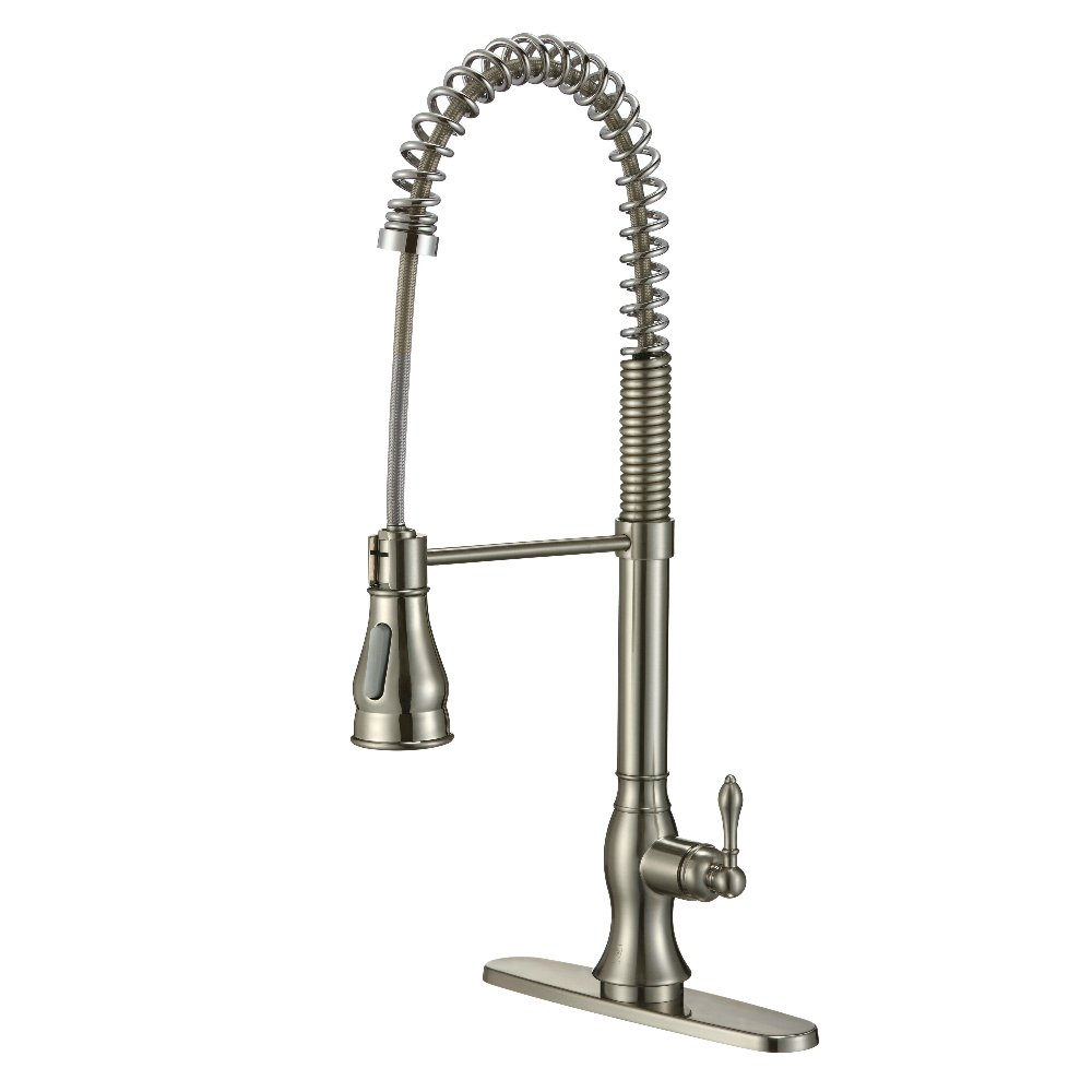 KDK Single Handle Pull-Down Spray Kitchen Faucet with Dual-Function Sprayhead and Retractable Hose-Brushed Nickel (Brushed Nickel-02)
