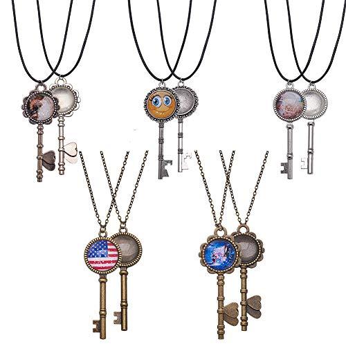 SUNNYCLUE 10 Sets Keys Pendant Tray Kit 10pcs Mixed Skeleton Keys Pendant Trays & 20mm Glass Dome Tiles Cabochon & 6pcs 18.8