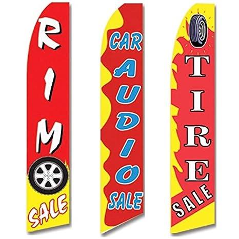 AUTO PARTS Swooper Half Curve Advertising PREMIUM WIDE Flag