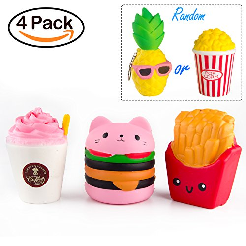 BeYumi Slow Rising Toy, Kawaii Hamburger, Fries, Pineapple, Popcorn, Drinks Set Meal Squishy Cream Scented Decompression Squeeze Toys for Collection Gift, decorative props Large or Stress Relief