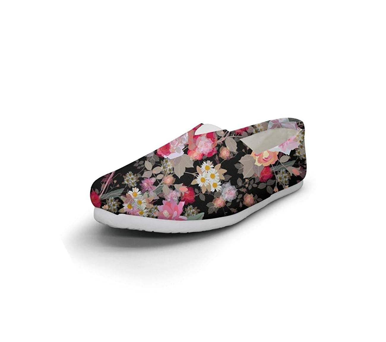 Floral Ornament Exotic Flowers and Leaves Checkerboard Daughter Lightweight Casual Canvas Low-top Sneakers Traveling Shoes
