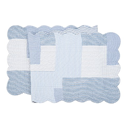 C&F Home Asher Stripe Cotton Quilted Reversible Table Runner 1451 Table Runner Blue