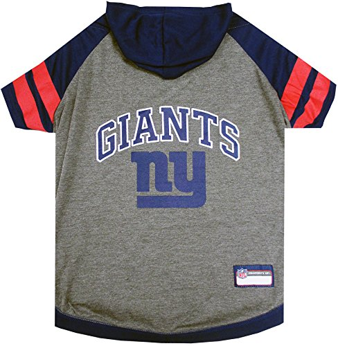 NFL New York Giants Hoodie for Dogs & Cats. | NFL Football Licensed Dog Hoody Tee Shirt, X-Small| Sports Hoody T-Shirt for Pets | Licensed Sporty Dog Shirt.