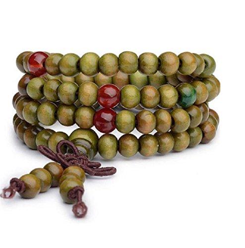 ILOVEDIY Kugel Holzmehr Perlen Strang Armband Buddhistisches Armband Stammes-Surfer Wickelarmband mit Schleife