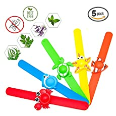 Diva Woo 5 Pack Natural Mosquito Repellent Slap Bracelets Wristband  Product infomation: Made of high quality food grade silicone.DEET and BPA free Cute animal bracelets.Come with 5 pack.Crab,Turtle,Starfish,Clownfish and Dolphin Bright color slap br...