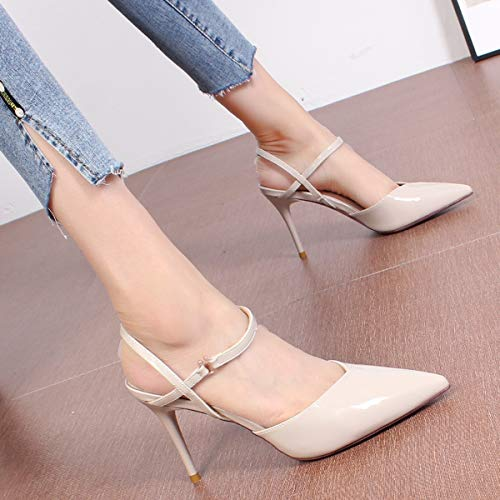 nine Thirty 8cm shoes heeled wild Baotou buckles slim LBTSQ thin sandals lacquer high fashionable 17Ogqp