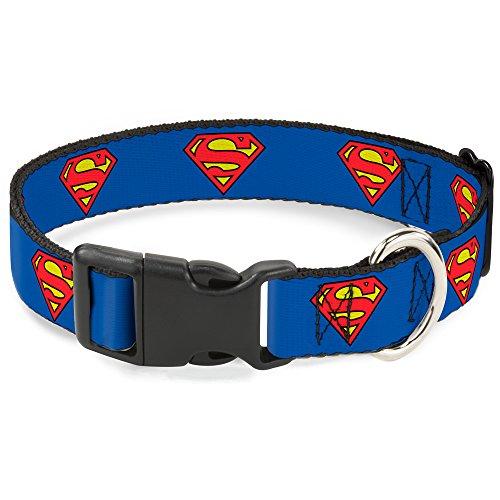 Buckle Down Plastic Clip Collar - Superman Shield Blue - 1