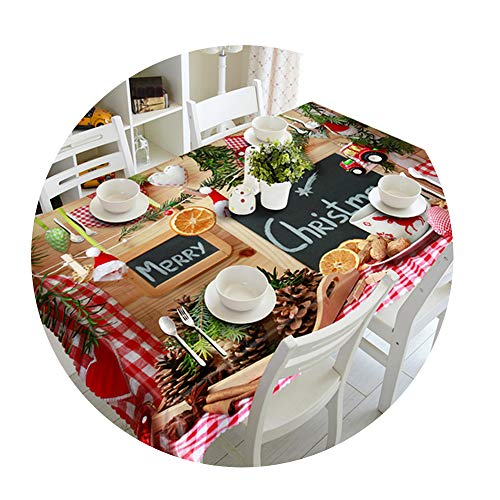 COOCOl Great 3D Tablecloth Christmas Tree Fireworks Waterproof Thicken Rectangular Round Wedding Table Cloth,E,90 X 90Cm