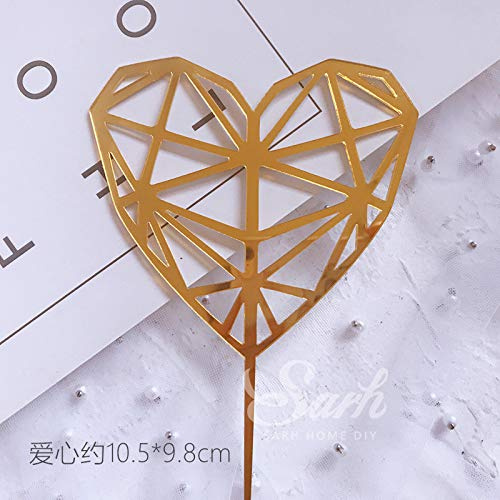 (Cake Topper - 3pcs/set acrylic size diamond pink love moon star collections cake topper for party decoration dessert lovely gifts)