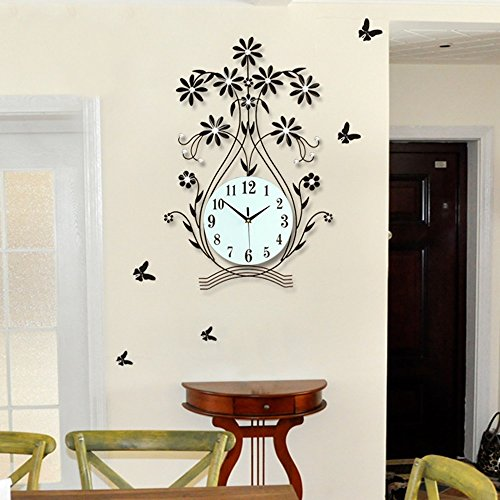 Vase Shape Creative Living Room Wall Clock Pastoral Wind Clo