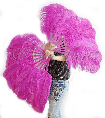 Hot-fans Single Layer Ostrich Feather Fan 24''x 41''for Pair,Hot Pink