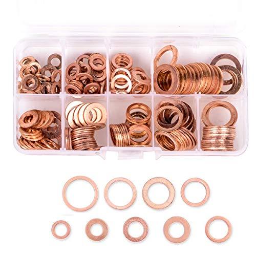 - Wolfride 200PCS 9 Sizes Brass Copper Washers Gasket Flat Metric Sealing Ring Set Assortment M5-M14