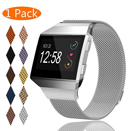 KingAcc Compatible Fitbit Ionic Bands, Milanese Stainless Steel Mesh Metal Replacement Band for Fitbit Ionic, Magnetic Clasp Lock Wristband Strap Women Men (1-Pack, Silver, Small)