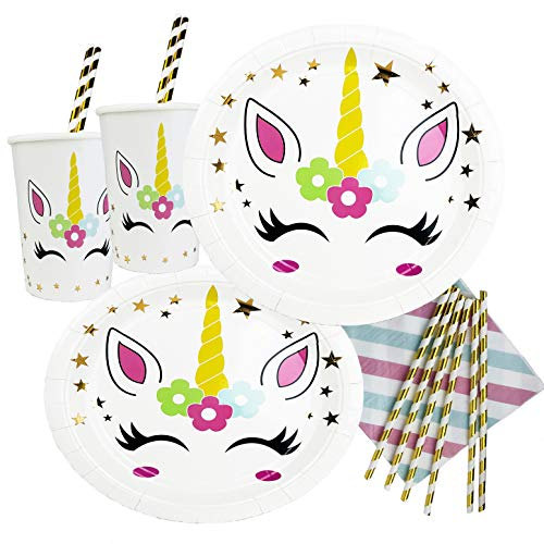 Premium Unicorn Party Supplies Birthday Set, Gold Star Plates Cups Straws Napkins, Serves 20 Guests, Girls Party Decorations- Pipers Party- 90pc Pack