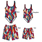Father and Son Matching Swim Trunks,Mommy and me One Piece Swimsuits Family Bathing Suits (7-8 Years, Son-Trunks)