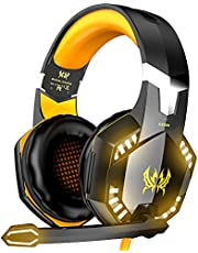 VersionTECH. G2000 Gaming Headset for PC PS4, Professional Stereo Over Ear Headset with Noise Cancelling Mic, Led Lights, in-Line Volume Control for Xbox One,Smartphones, Mac, PC Games
