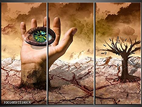 Orologi Da Parete In Tela : Tlg tela foto orologio da parete occhio in mano murale su tela