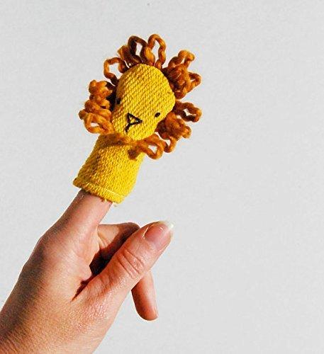 Organic Cotton Lion Finger Puppet Wild Animal Toy by Ecoleeko