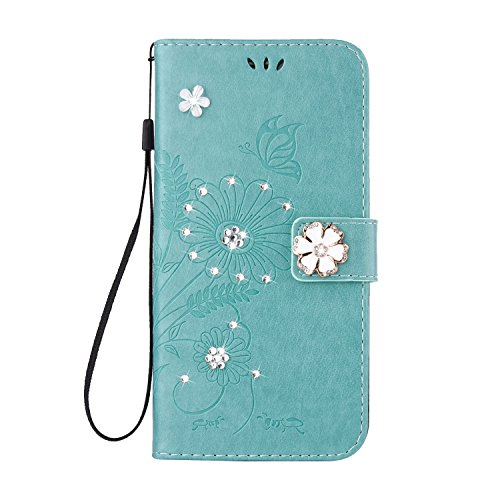 S8 Wallet Case, PU Leather wallet stand Luxury Diamond Studded Bling Rhinestone Crystal Embossed Flower Ant Pattern Flip Folio Magnetic Cover with Card Slots for Samsung Galaxy S8 (Bling/Green) (Lucky Embossed Belt)