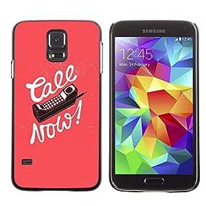 FECELL CITY // Duro Aluminio Pegatina PC Caso decorativo Funda Carcasa de Protección para Samsung Galaxy S5 SM-G900 // Call Now Old Cellphone Pink Text Calligraphy