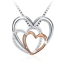 Heart Necklace,J.Rosée Fashion Jewelry Rose Gold Plated 925 Sterling Silver Cubic Zirconia Pendent Necklace,Women Girl